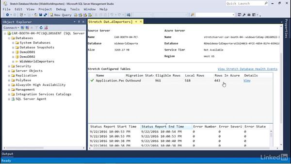 Monitor Stretch Database: Microsoft SQL Server 2016 Essential Training
