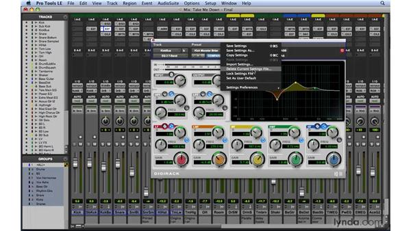 Working with plug-in settings: Mixing and Mastering with Pro Tools