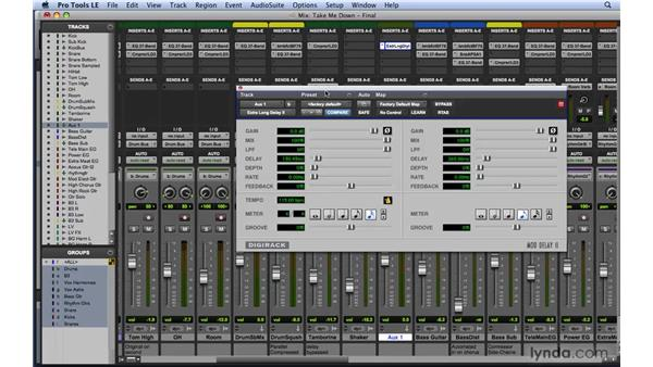 Using sends and creating FX returns: Mixing and Mastering with Pro Tools