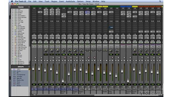 Using volume and pan to balance the mix: Mixing and Mastering with Pro Tools