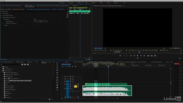 New audio effects and deprecated audio effects: Premiere Pro CC 2017: New Features