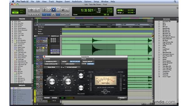 Dynamics workflow example 2: Drums: Mixing and Mastering with Pro Tools