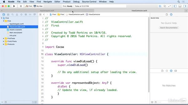 Use tabs: Xcode 8 Essential Training