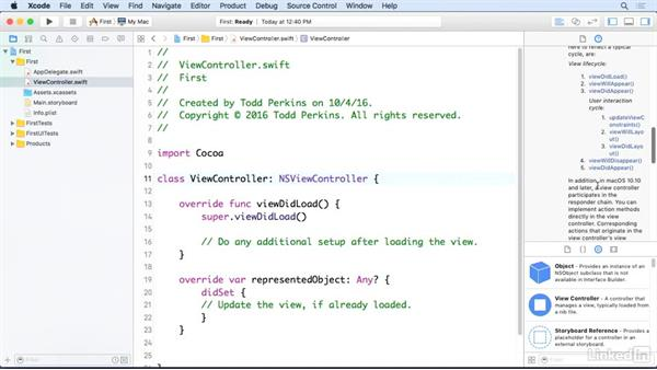 Use the Quick Help inspector: Xcode 8 Essential Training
