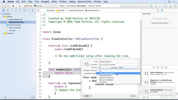 Create snippets: Xcode 8 Essential Training