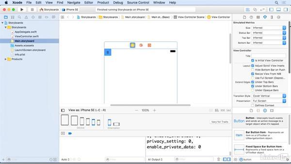 Understanding pinning: Xcode 8 Essential Training