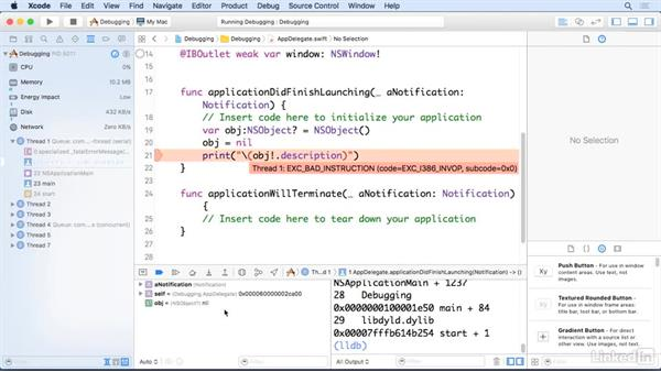 Use the debugger: Xcode 8 Essential Training