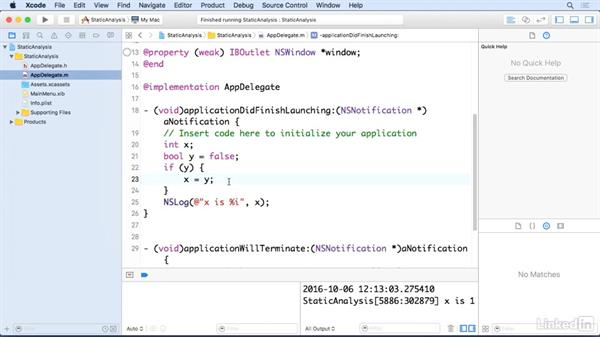 Use the Analyze tool: Xcode 8 Essential Training