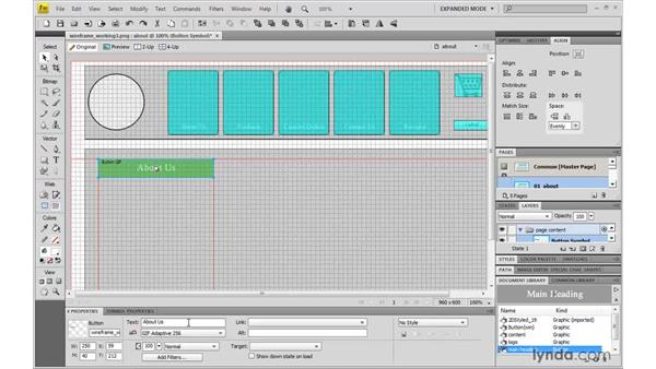 Customizing subpages with Greeked text: Fireworks CS4: Rapid Prototyping