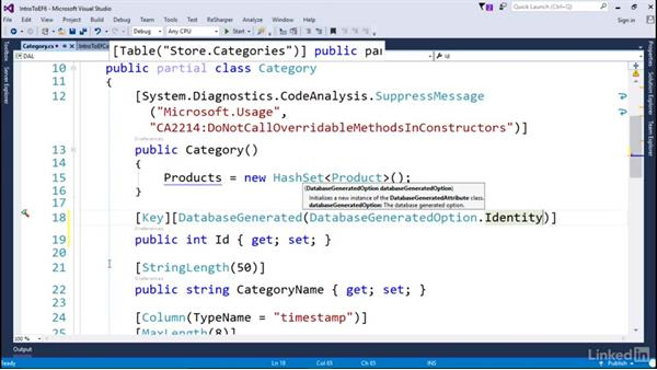 Examine the generated classes: Getting Started with Entity Framework 6.1.3
