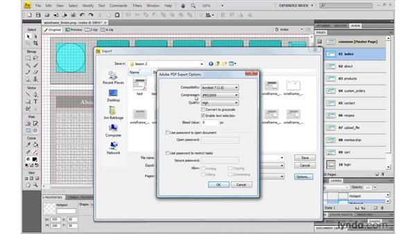 Exporting wireframes: Fireworks CS4: Rapid Prototyping