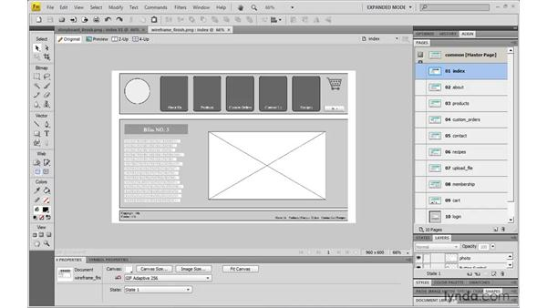 Making a wireframe realistic: Fireworks CS4: Rapid Prototyping