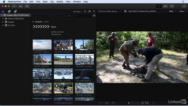 A tour of the FCP X interface: Basic clip viewing and organization: Final Cut Pro X 10.3 Essential Training