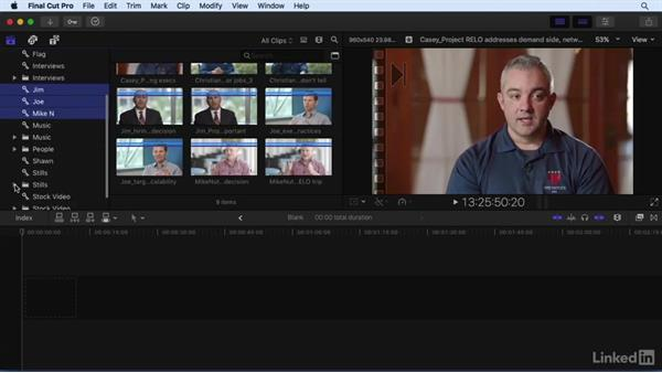 Organizing footage with keywords and folders: Final Cut Pro X 10.3 Essential Training