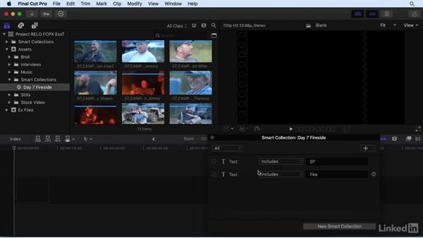 Performing searches and creating Smart Collections: Final Cut Pro X 10.3 Essential Training
