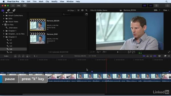 Removing material to refine the story: Final Cut Pro X 10.3 Essential Training
