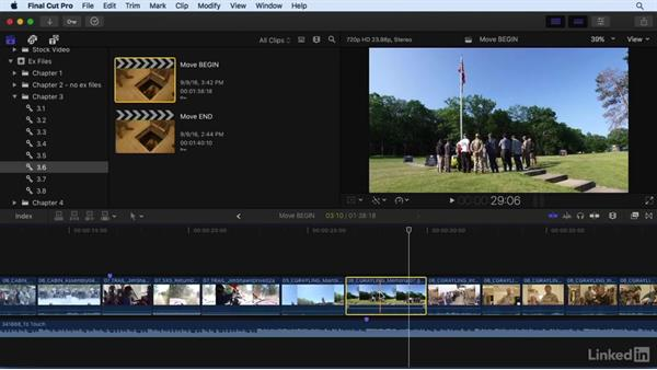Moving clips around in the timeline: Final Cut Pro X 10.3 Essential Training