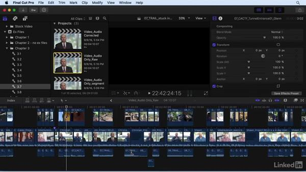 Editing with audio in mind: Final Cut Pro X 10.3 Essential Training