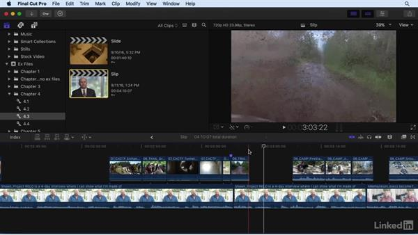 Changing shot content and position: Performing Slip and Slide edits: Final Cut Pro X 10.3 Essential Training