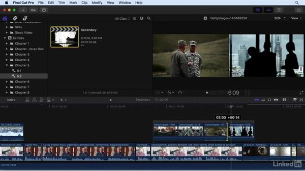 Working with secondary storylines: Final Cut Pro X 10.3 Essential Training