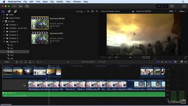 Keyframing audio: Final Cut Pro X 10.3 Essential Training