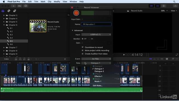 Recording voiceover audio: Final Cut Pro X 10.3 Essential Training