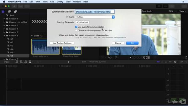 Syncing your video to high-quality audio: Final Cut Pro X 10.3 Essential Training