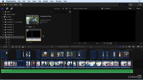 Nesting shots and working with compound clips: Final Cut Pro X 10.3 Essential Training