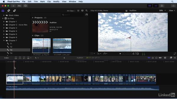 Auditioning clips to try multiple editing options: Final Cut Pro X 10.3 Essential Training