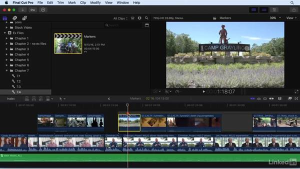 Working with markers: Final Cut Pro X 10.3 Essential Training