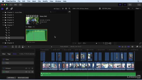 Using roles to define clip categories: Final Cut Pro X 10.3 Essential Training