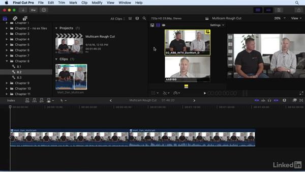 Performing a multicam edit: Final Cut Pro X 10.3 Essential Training