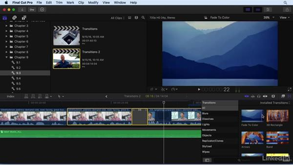 Adding and adjusting transition effects: Final Cut Pro X 10.3 Essential Training