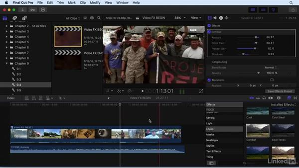 Adding and adjusting video effects: Final Cut Pro X 10.3 Essential Training