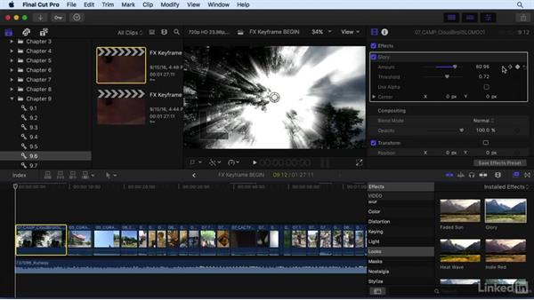 Keyframing video and audio effects over time: Final Cut Pro X 10.3 Essential Training