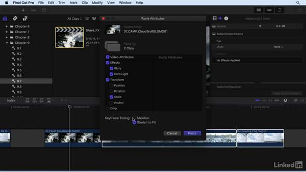 Copying and pasting effects and creating effect templates: Final Cut Pro X 10.3 Essential Training