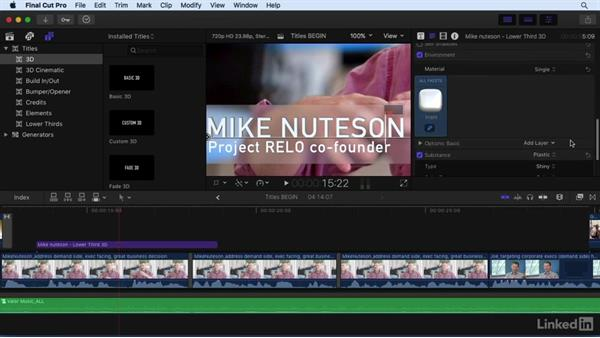Creating titles: Final Cut Pro X 10.3 Essential Training