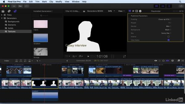 Working with generator effects: Final Cut Pro X 10.3 Essential Training