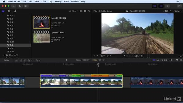 Using speed effects to retime clips: Final Cut Pro X 10.3 Essential Training