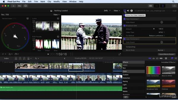 Color grading to add style: Final Cut Pro X 10.3 Essential Training