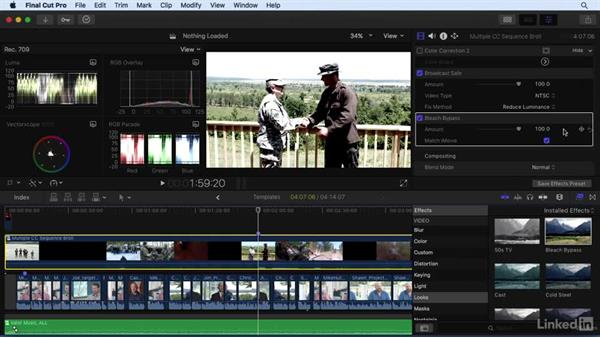Using color correction templates: Final Cut Pro X 10.3 Essential Training