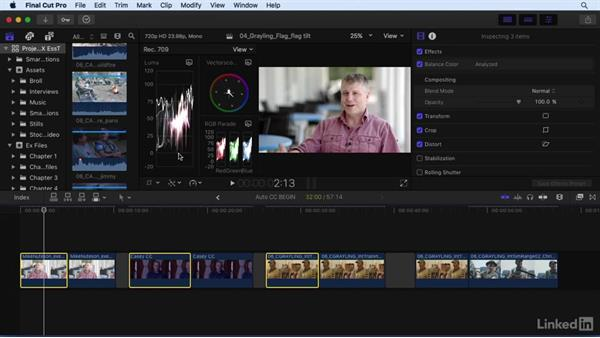 Using automatic color correction tools: Final Cut Pro X 10.3 Essential Training