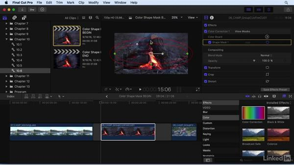 Working with color masks and shape masks: Final Cut Pro X 10.3 Essential Training