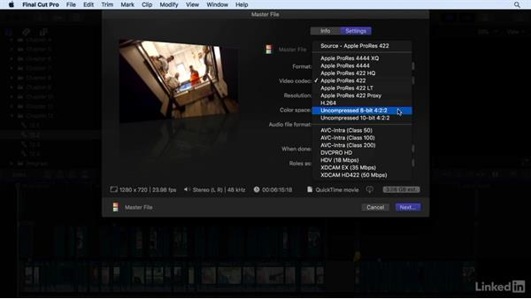 Exporting a hi-res QuickTime movie with chapter markers: Final Cut Pro X 10.3 Essential Training