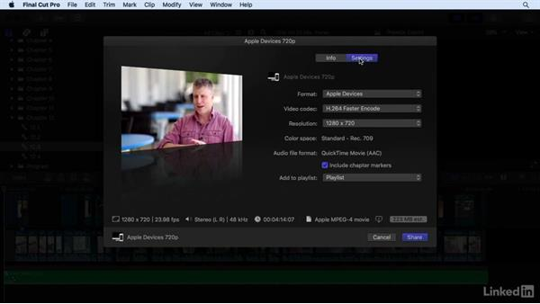 Exporting projects for the web, Apple devices, and DVD: Final Cut Pro X 10.3 Essential Training
