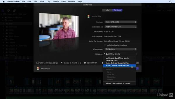 Exporting stems out of the timeline using roles: Final Cut Pro X 10.3 Essential Training