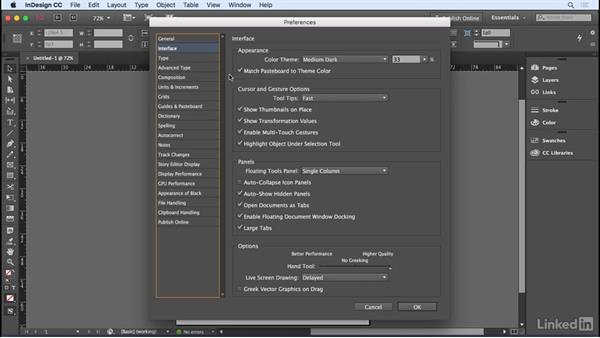 Adjusting the interface: dark and light: InDesign CC 2017 Essential Training