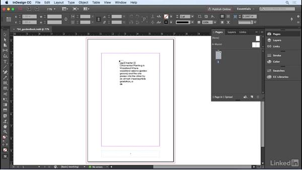 Importing text: InDesign CC 2017 Essential Training