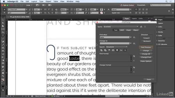 Using Find/Change: InDesign CC 2017 Essential Training