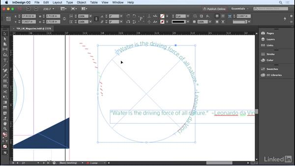 Setting text on a path: InDesign CC 2017 Essential Training